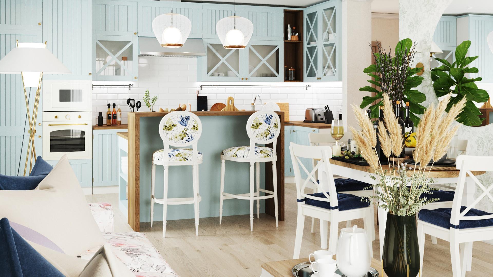 Кухня-гостиная в п. Михайловка Green