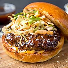 Mongolian BBQ Beyond Meat Patty Burger w/ Sweet Potato Fries, Small Chef Inspired Salad