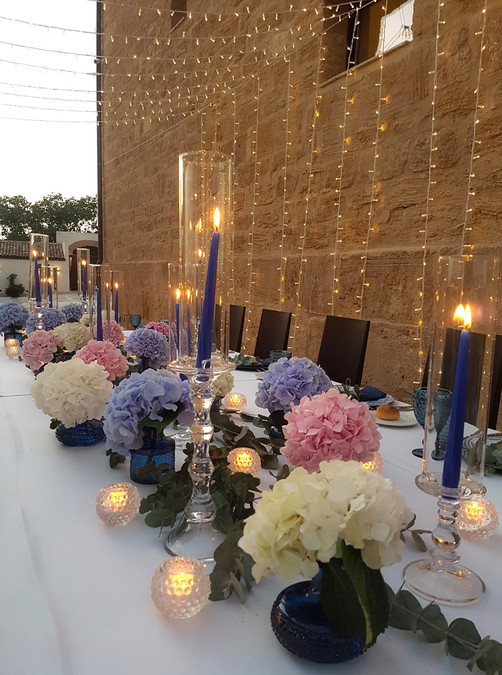 blue and rose hydrangea wedding decor