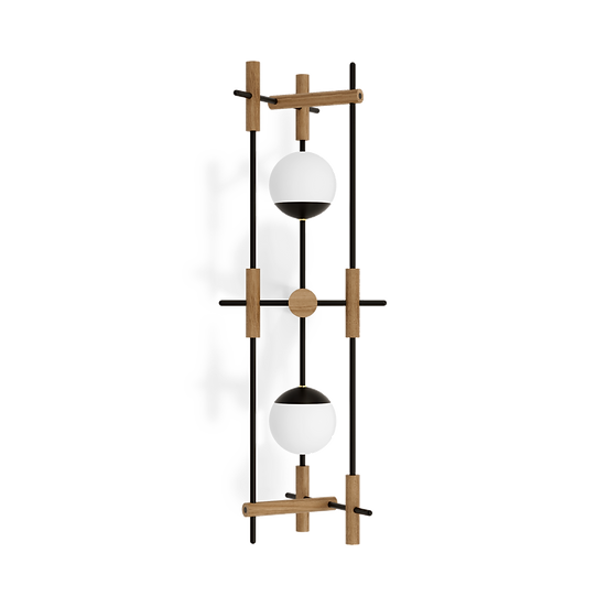 Large japandi style wooden wall lamp with two milk glass shades inspired by Japanese culture and modern minimalist design