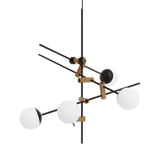 Minimalist ceiling lamp with wooden details and milk glass shades inspired by Japanese culture and modern Scandinavian design