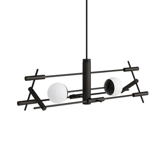 Matte black dining table horizontal ceiling lamp with two milk shades inspired by Japanese culture and modern minimal design
