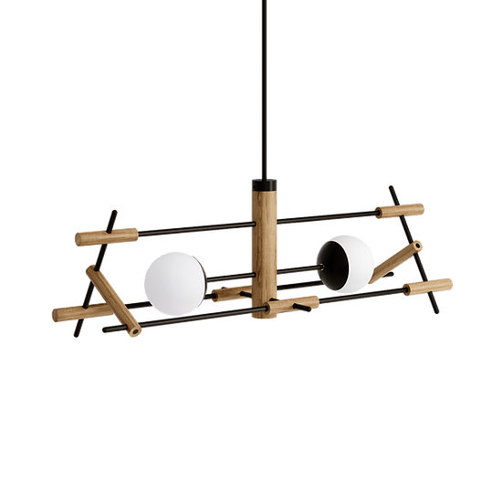 Dining table wooden ceiling lamp with two milk glass shades inspired by Japanese culture and modern Scandinavian design