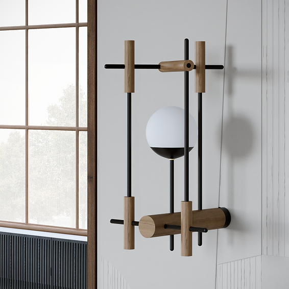 Natural oak wood wall lamp with milk glass shade inspired by Japanese culture and modern minimalist design