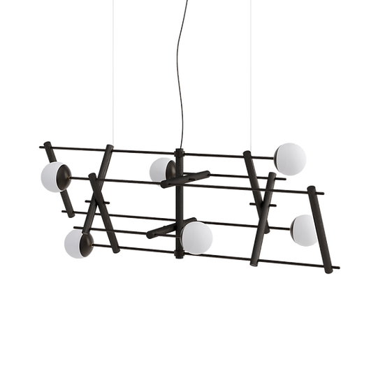 Dining table ceiling lamp in matte black color with milk glass shades inspired by Japanese culture and modern minimalist desi