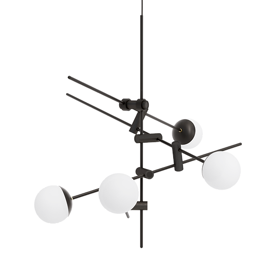 Minimal matte black chandelier with four milk glass shades inspired by Japanese culture and contemporary minimalist design