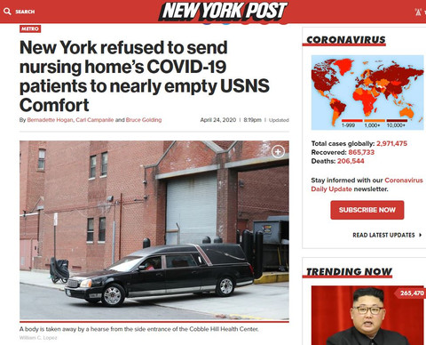 New York refused to send nursing home's COVID-19 patients to nearly empty USNS Comfort