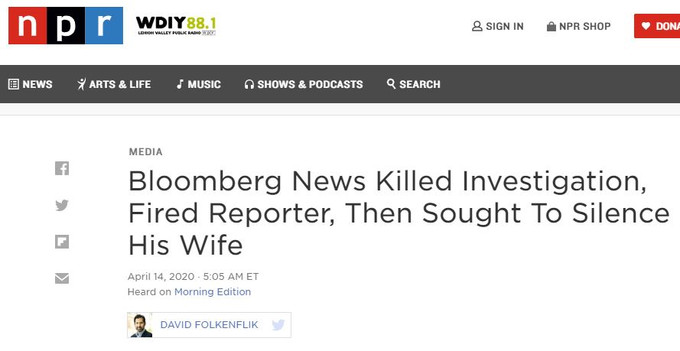 Bloomberg News Killed Investigation, Fired Reporter, Then Sought To Silence His Wife