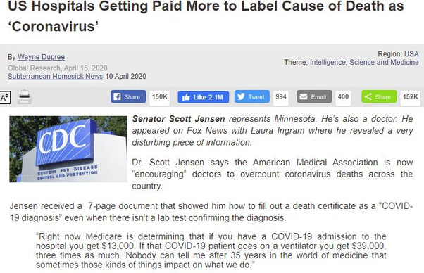 US Hospitals Getting Paid More to Label Cause of Death as Coronavirus