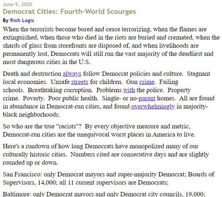 Democrat Cities: Fourth-World Scourges