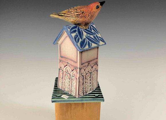 Birdhouse Fence Tile-Mauve House