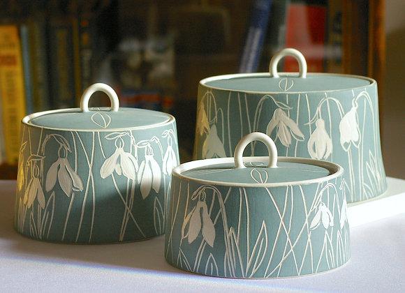 Snowdrop Jars, oval with loop handle, sage green: Various sizes
