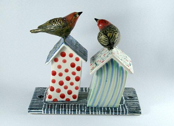 Birdhouses Tile Double: Windy walls, red dot + pale stripe