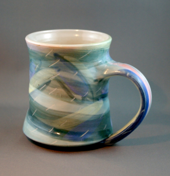 Brent's favourite pottery mug, made by Cindy Gibson Ceramics, Victoria