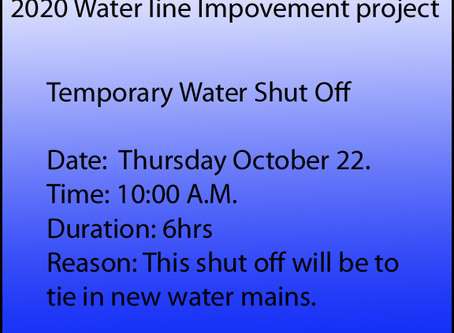 Temporary Water Shut Off 10/22/20