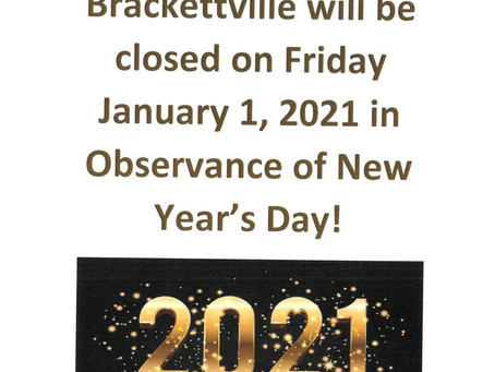 The City of Brackettville will be closed January 1, 2021