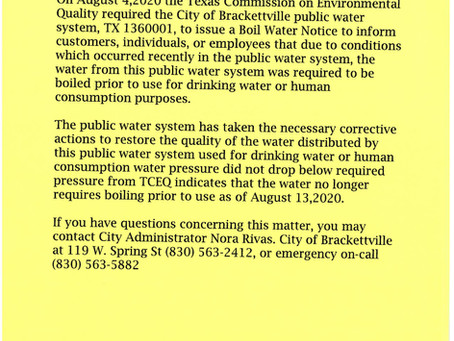 Boil Water Notice Rescinded August 13, 2020