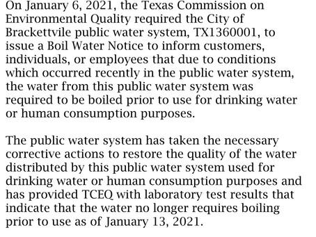 Boil Water Notice RescindedJanuary 13, 2021