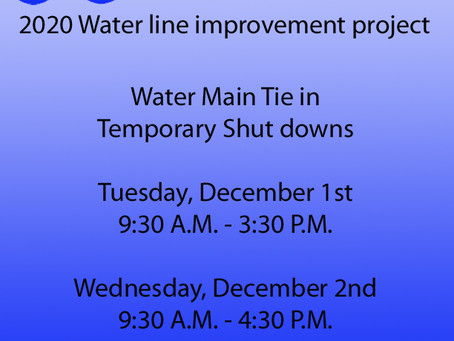 2020 Water line Improvement project.