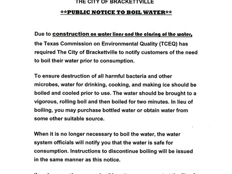 Boil water notice 01/06/2021