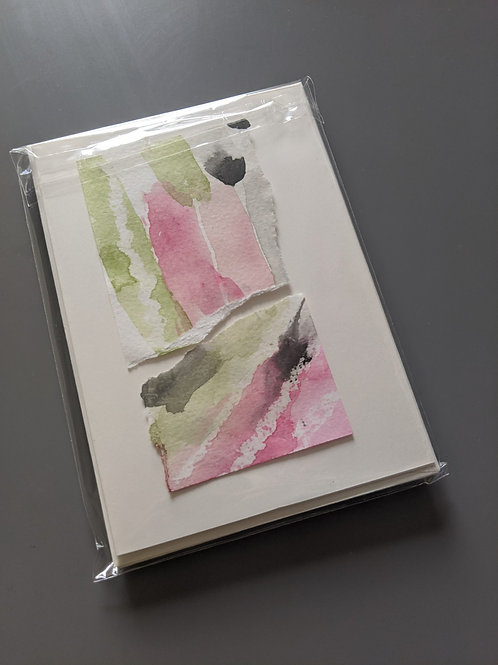 Pack of 4 fruit abstract blank greetings cards