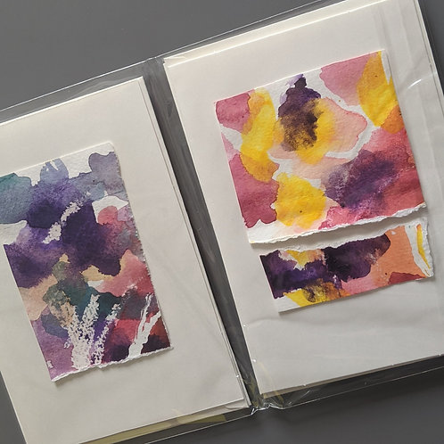 Pack of 4 bright abstract blank greetings cards