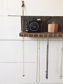 Shelving, Repurposed Wood, Necklace Holder, Leather Straps, Jewelery Holder