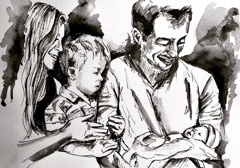 Ink portrait of a family
