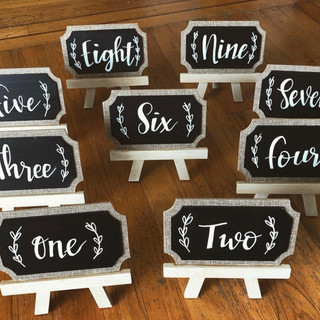 Table Numbers for a Wedding