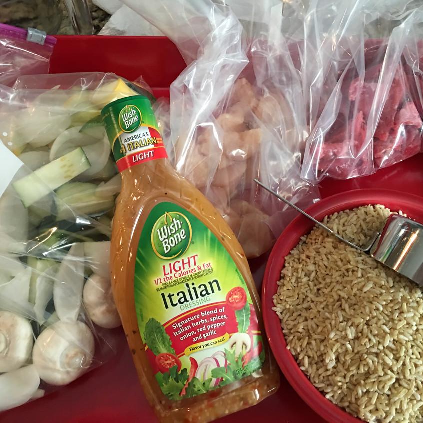 Veggies dressing and rice