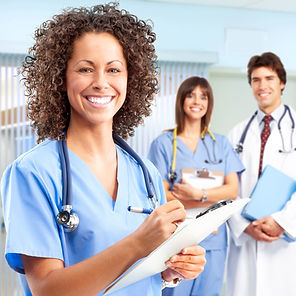 Registered nurses and doctor in a hospital