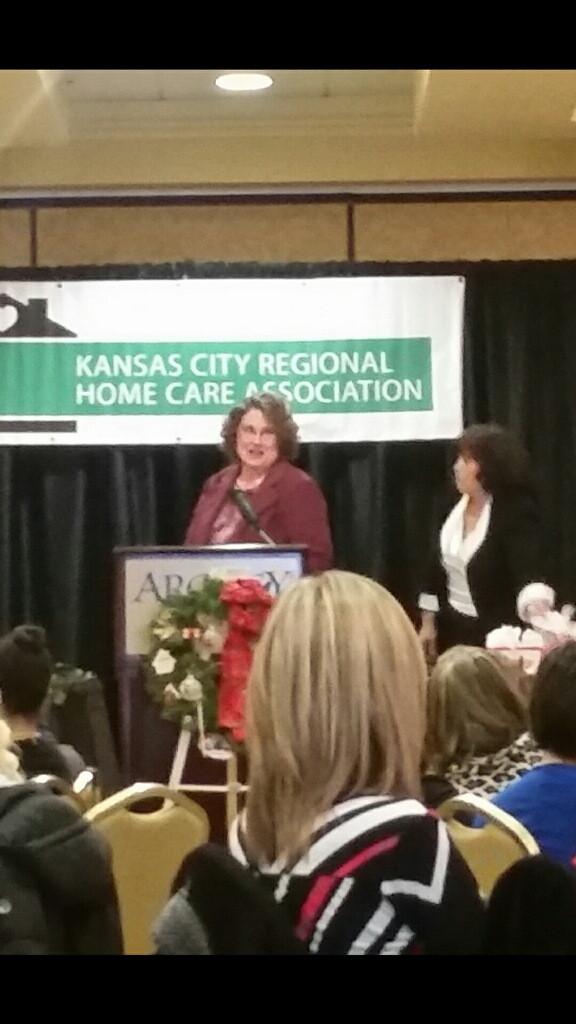 Kathy Shaulis accepting her award.