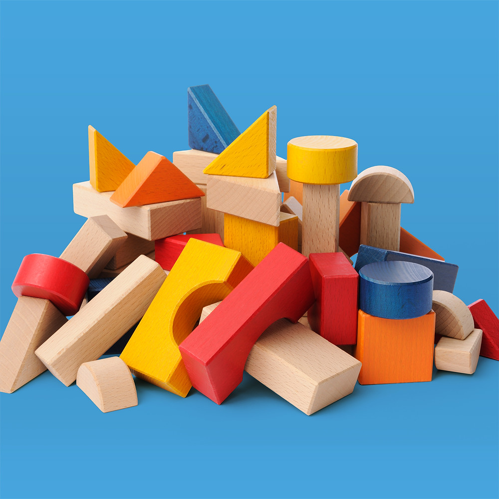 pile of colorful children's blocks