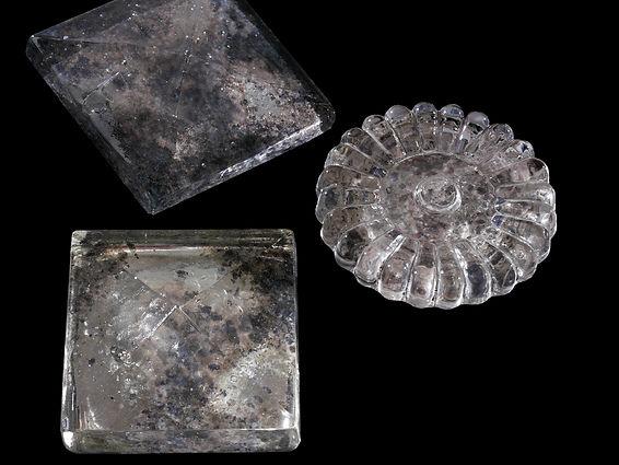 Stephen Cavallo Item # 1112 CAST GLASS PYRAMID | Item# 1113 CAST GLASS FLORETTE