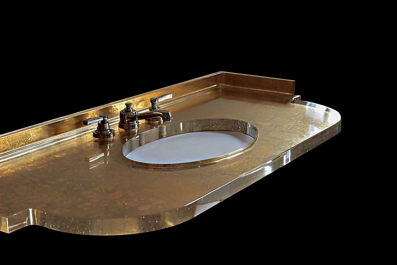 Cast Glass Shaped Vanity Top In Mottled 23k Gold