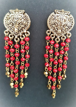 Ethnic styled red and gold chandelier earrings