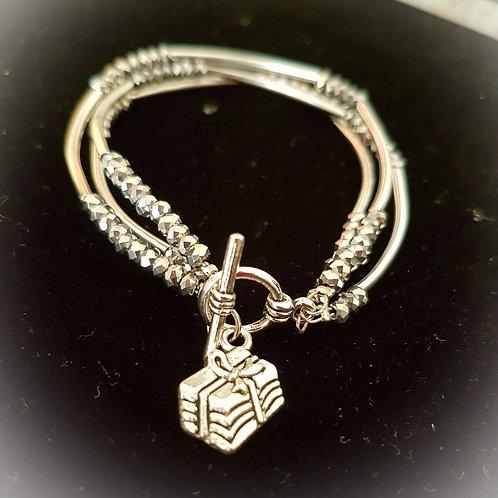 Silver crystal multilayered bracelet