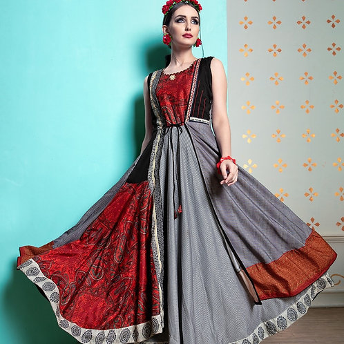 Trendy grey red indo western gown kurti
