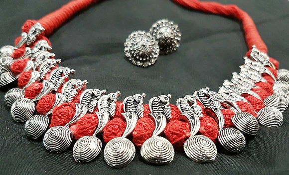 Antique silver toned thread bead  dori neckace set