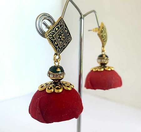 Red fabric jumkas with antique Gold toned studs