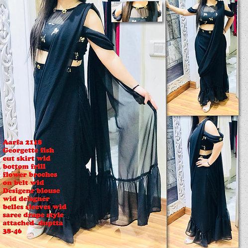 Black Georgette trendy skirt saree dress