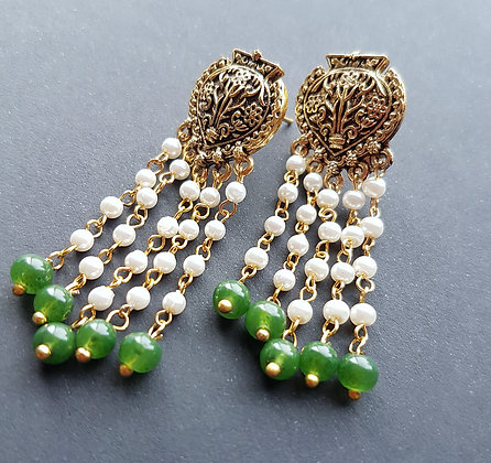 Ethnic handmade  pearl with jade earrings