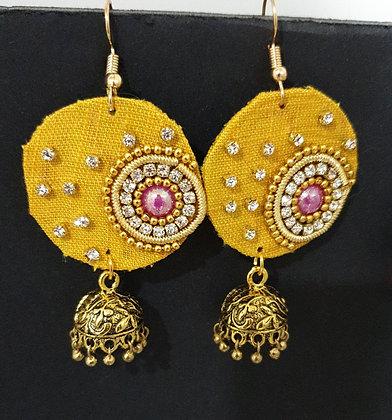 Mustard yellow fabric jumka earrings