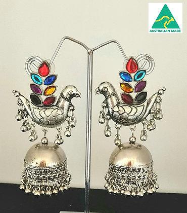 Colourful peacock stud oxidized silver toned indian ethnic jumkha earrings