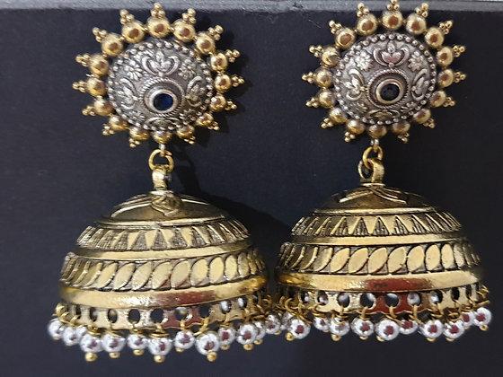 Handmade 2 tone ethnic jumka earrings
