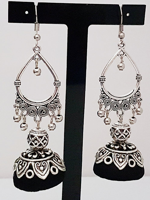 Antique silver toned silk thread jumka earrings