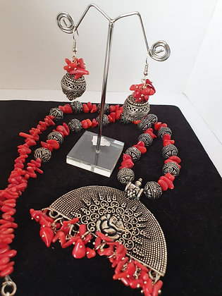 Red coral bead necklace set