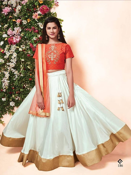 White silk skirt with orange top
