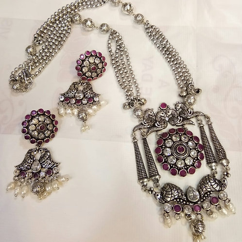 Antique silver toned german silver necklace stones with ruby stones