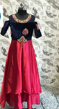 Dark blue with pink party wear gown